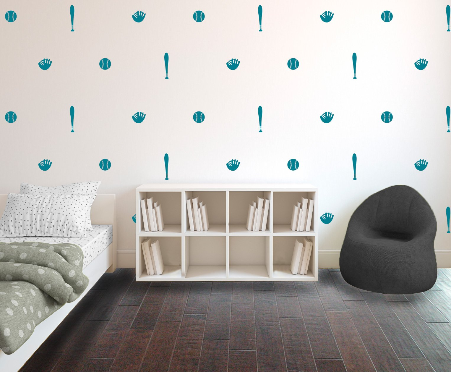 Teal Baseball Bat, Ball, & Glove Pattern - Set of 10 - Sports Vinyl Wall Art Decal for Homes, Offices, Kids Rooms, Nurseries, Schools, High Schools, Colleges, Universities