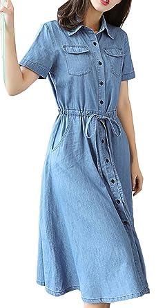 e8a04993149a Bevalsa Sommerkleider Maxikleid Jeanskleid Damen Kurzarm V-Ausschnitt Knopf  Lang Kleid Slim Denim Jeans Skirt