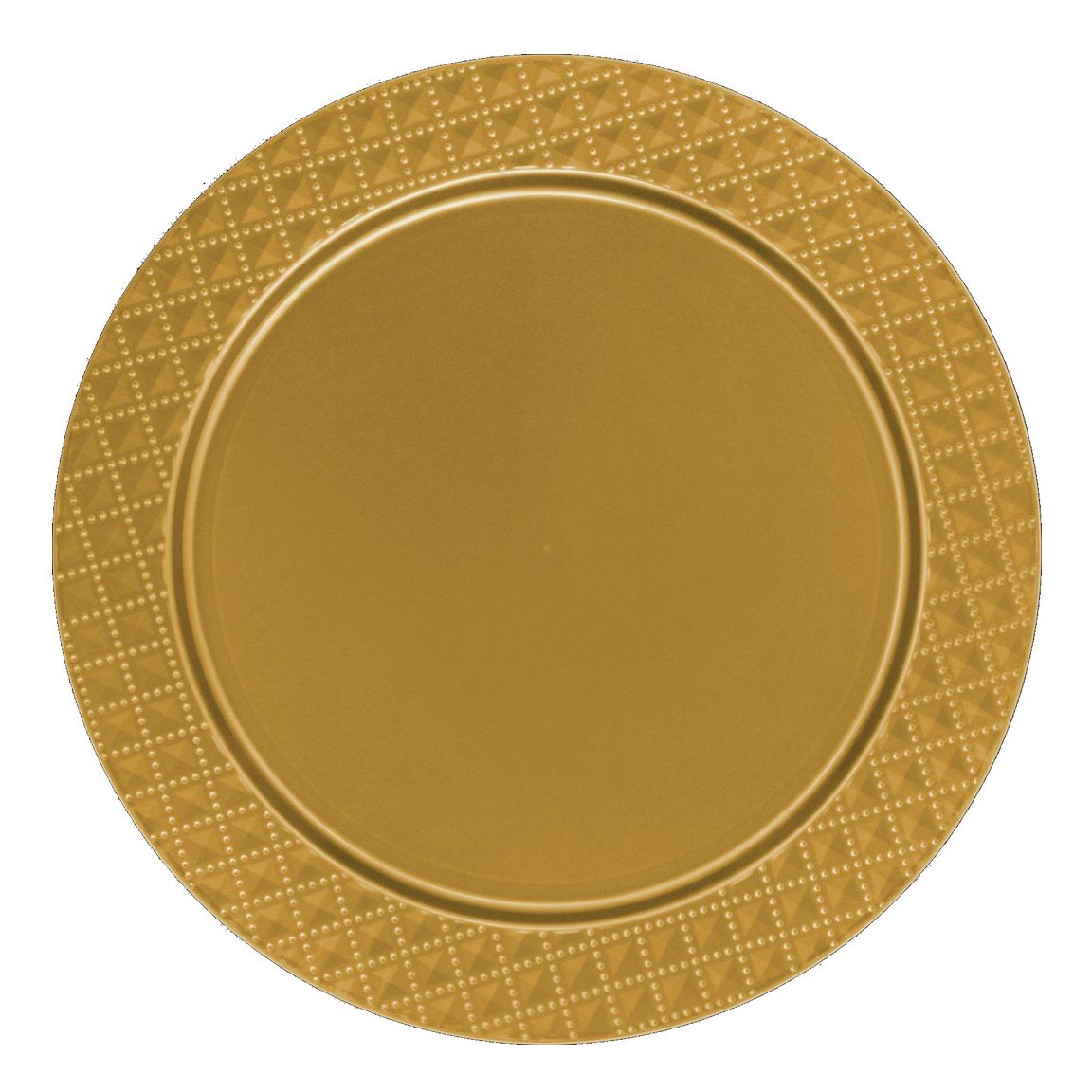 Posh Setting Gold Charger Plates, Diamond Design, Medium Weight 13 inch, Round Plastic Chargers 10 pack