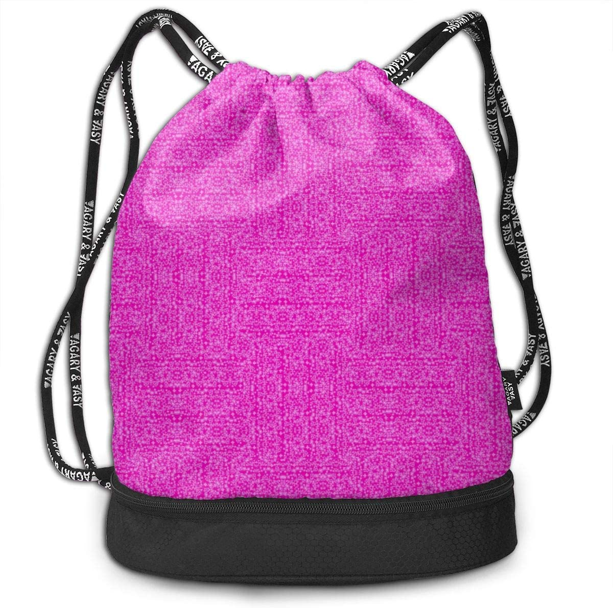 Pink Pink Basketweave Drawstring Backpack Sports Athletic Gym Cinch Sack String Storage Bags for Hiking Travel Beach