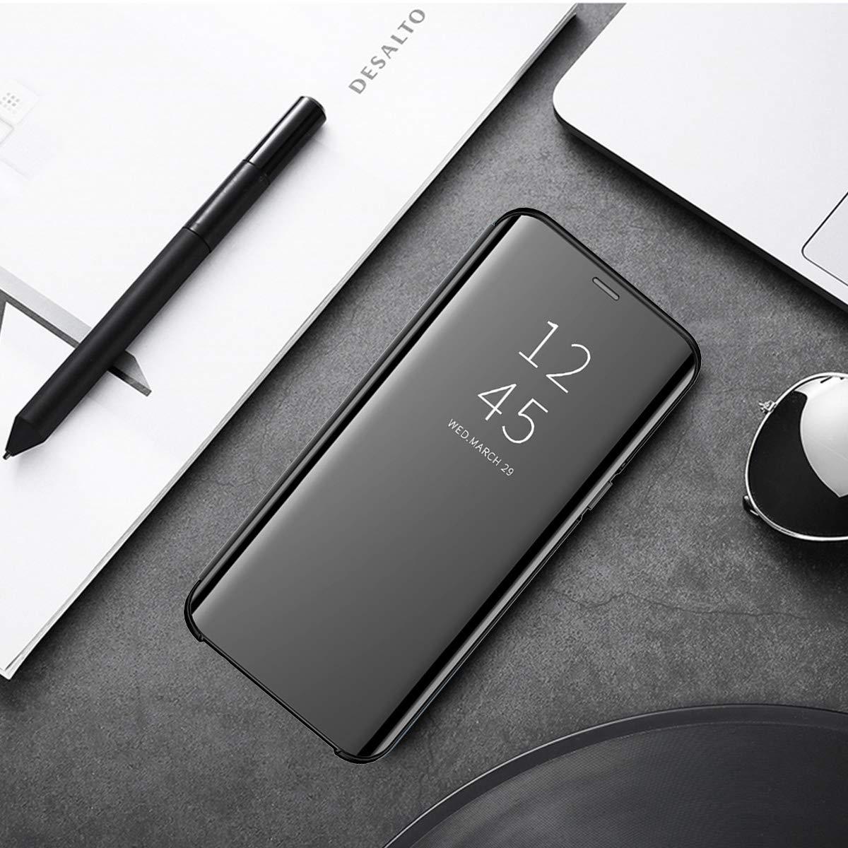 JEPER Funda Compatible con Xiaomi Mi 8 Lite Espejo PC Flip 360/° Protectora Ultra Delgado Choque Absorci/ón Anti-Ara/ñazos Mirror Case Carcasa para Mi 8 Lite Caso Estuche Cover