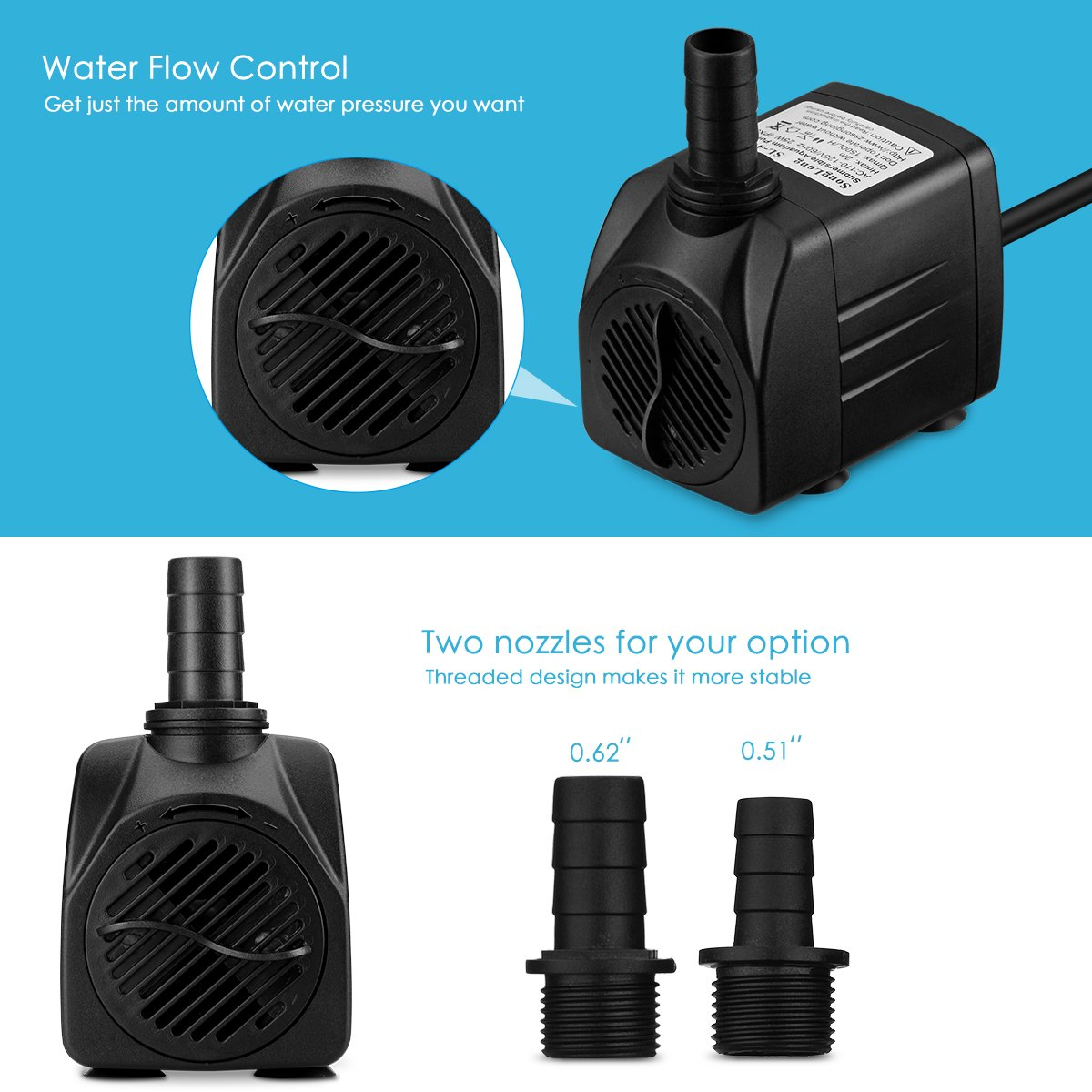 Homasy 400gph Submersible Pump 25w Fountain Water Two Way Switch For With 59ft Power Cord 2 Nozzles Aquarium Fish Tank Pond Statuary