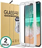 Bovon iPhone X Tempered Glass, Protector Pantalla iPhone X/iPhone 10, Cristal Vidrio Templado, 9H Dureza, Alta Definicion 0.33mm, Anti-Golpe, Anti-Huellas, 2 Unidades