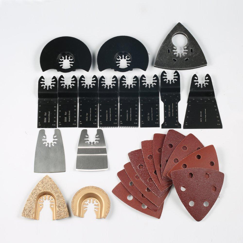 KitsPro 40-piece Oscillating Multitool Accessories Saw Blades, Quick Release Kit Fit Mastercraft/Milwaukee / Ridgid/Fein / Black & Decker and more