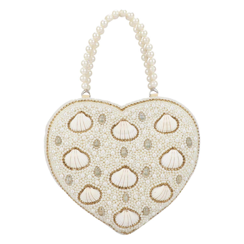 Heart Shape Vintage Style Pearl Tote Bag Wrist Bag Evening Clutch Wedding  Purse for Women   Girls  Handbags  Amazon.com