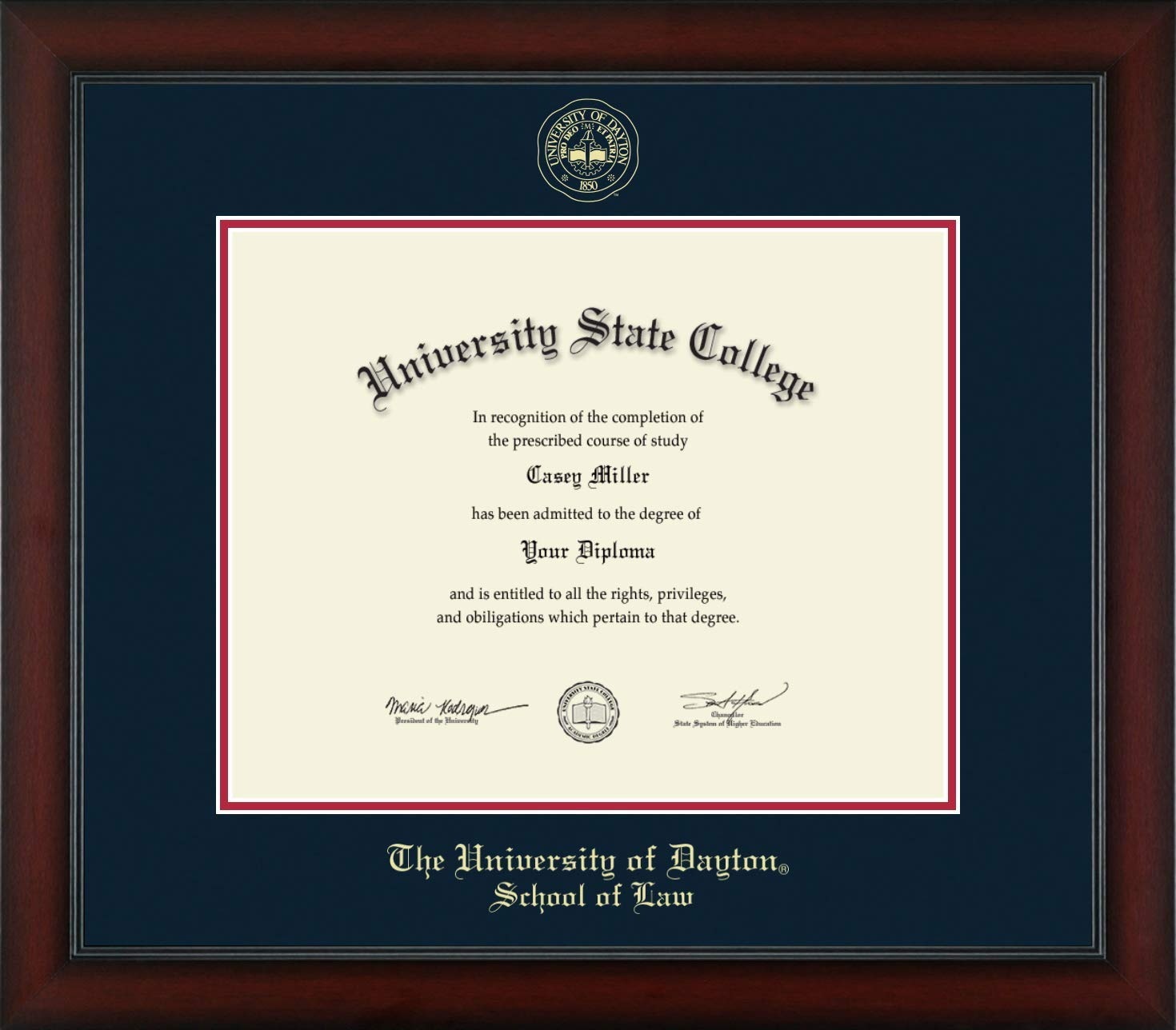 University of Dayton School of Law - Officially Licensed - Gold Embossed Diploma Frame - Diploma Size 15'' x 12''