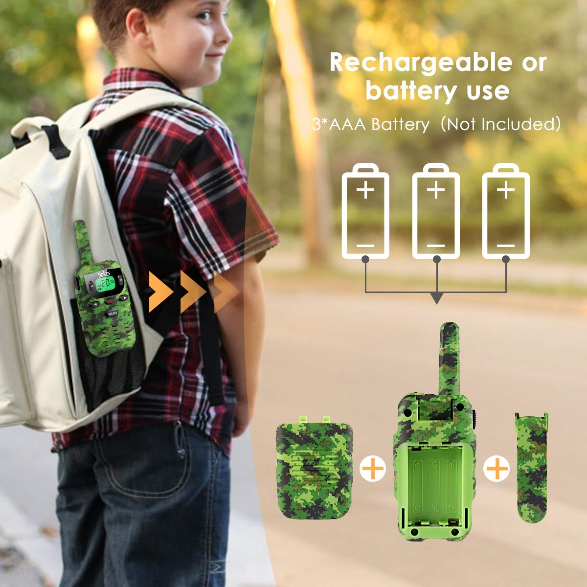 UOKOO Walkie Talkies for Kids, Toys for 3-12 Year Old Boys 22 Channel 3 Mile Long Range Kids Toys and Kids Walkie Talkies, and Top Toys for for 3 4 5 6 7 8 9 Year Old Boy and Girls by UOKOO (Image #7)