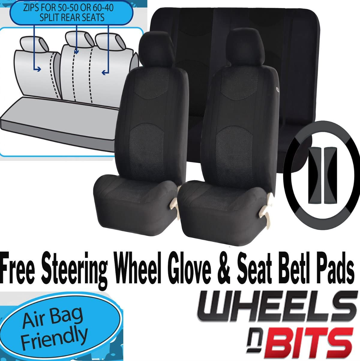 NEW Universal Front Seat Covers for BMW 3 series X3 BLACK WITH GREY PIPING
