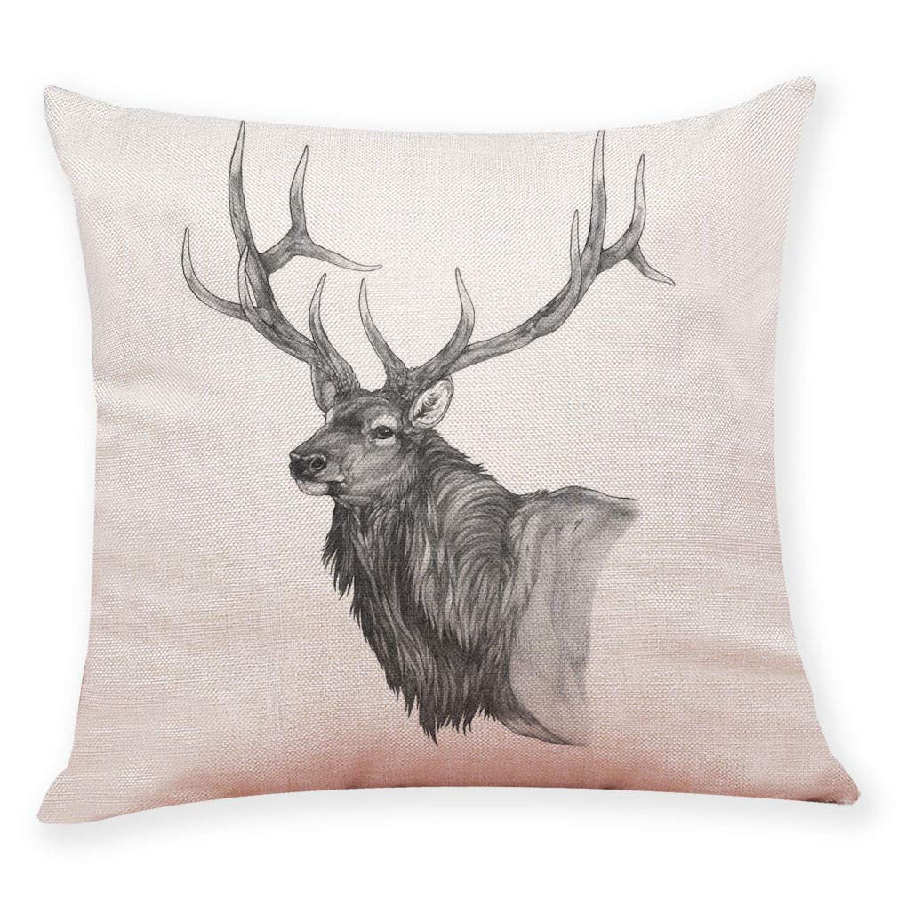 Pgojuni Pillow Case Cotton Linen Cushion Cover Merry Christmas Xmas Lovely Elk Printing Pillow Case Cushion Cover for Sofa/Couch 1pc 45X45 cm (G)