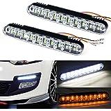 Fullkang 2x 30 LED Car Daytime Running Light DRL Daylight Lamp with Turn Lights