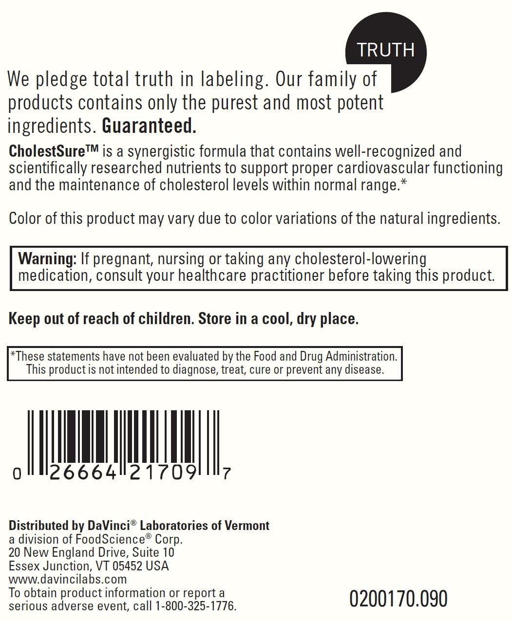 Davinci Labs - CholestSure 90 caps [Health and Beauty]