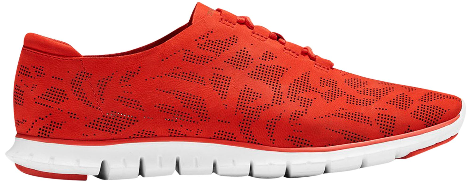 Cole Haan Womens ZEROGRAND Perforated Trainer 8 Firey Red Perf Nubuck-optic White