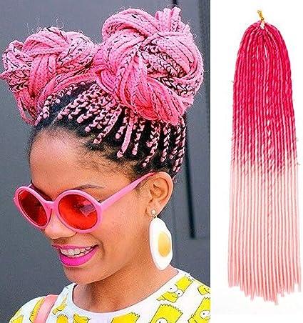 Trenzas africanas de color rosa