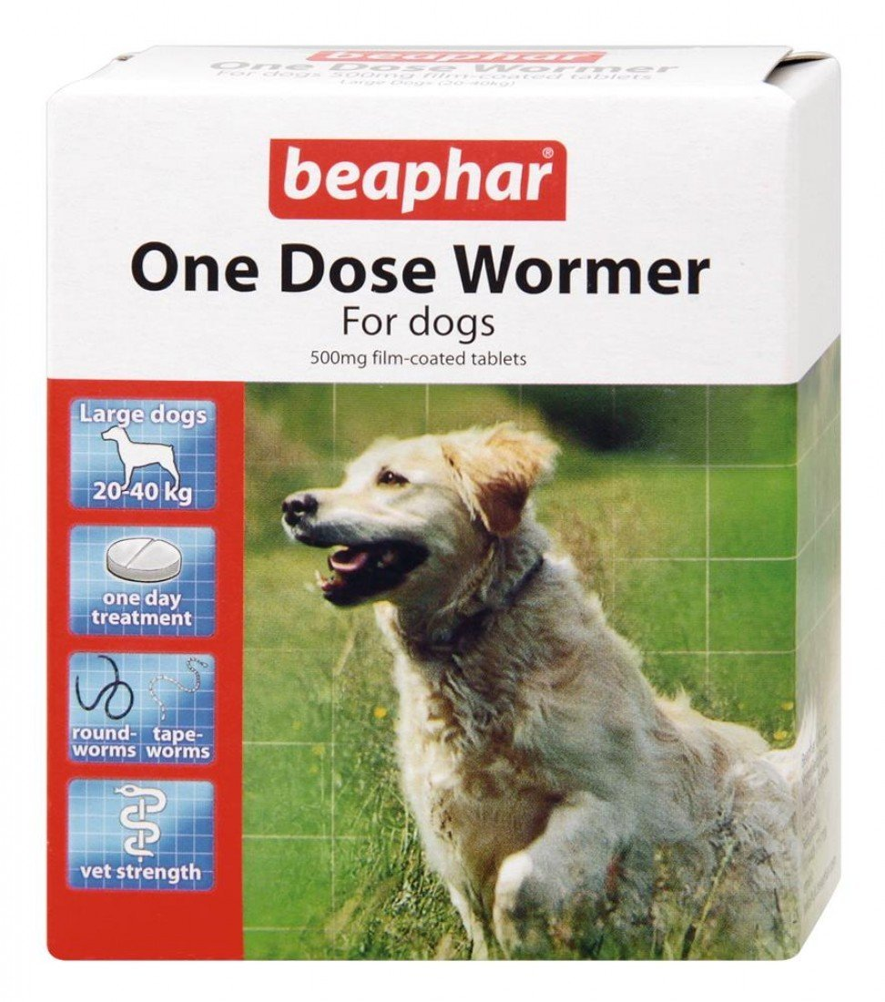 (2 Pack) Beaphar - One Dose Wormer for Large Dogs 4 Tabs