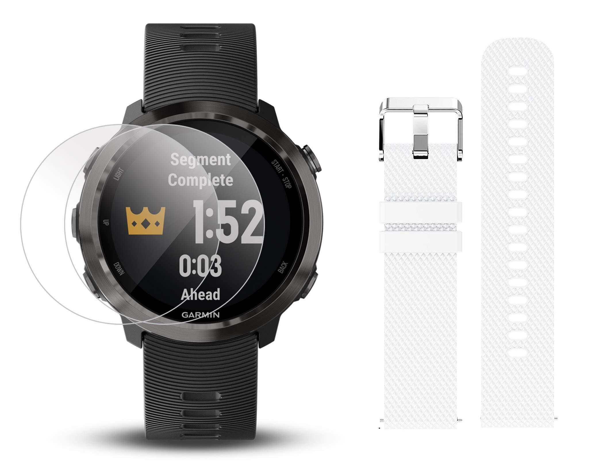 Garmin Forerunner 645 Music Bundle with Extra Band & HD Screen Protector Film (x4) | Running GPS Watch, Wrist HR, Music & Spotify, Garmin Pay (Slate + Music, White)