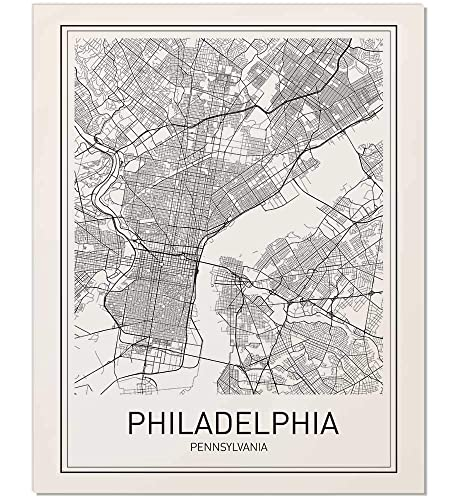 City Maps, City Map Poster, Philadelphia Map Print, Philadelphia Poster, US  City Map, Map Print, Map Art Print, Black and White, Map Wall Art, Map ...