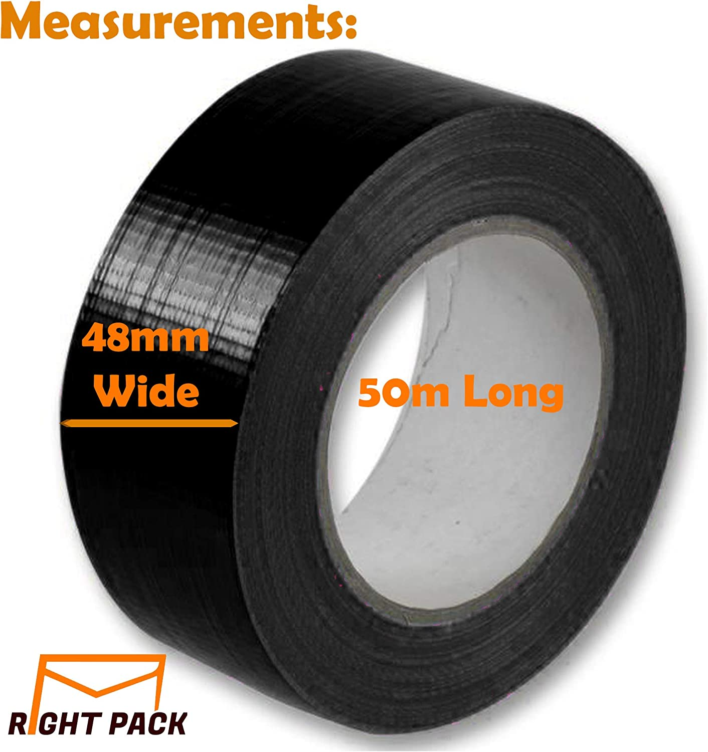 """Right Pack 1 x Premium Roll Black Duct Tape 48mm x 50m 2/"""" Strong Heavy Duty Waterproof Cloth Gaffer Gaffa Book Binding Indoor Outdoor"""