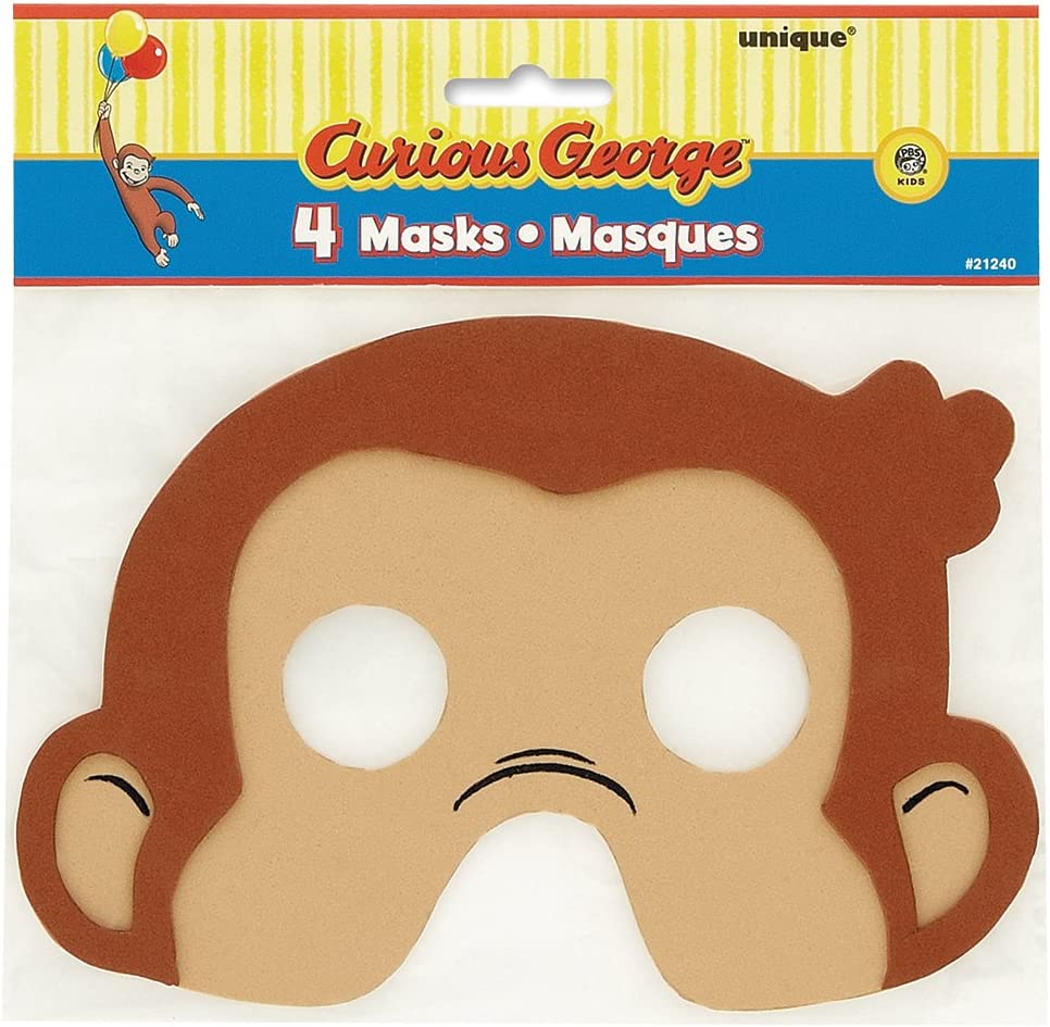 4ct Curious George Foam Party Masks