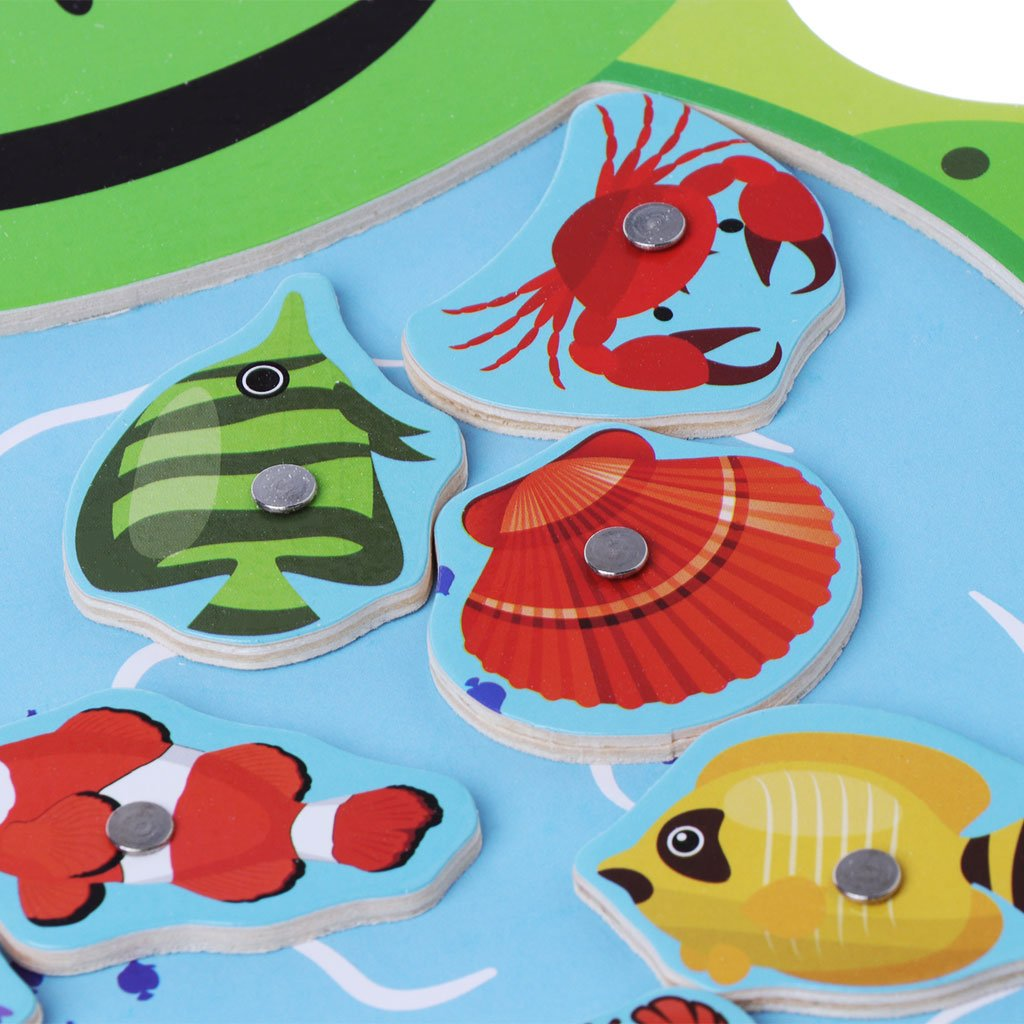 JAGENIE Magnetic Fishing Game Wooden Toys Jigsaw Puzzle Board Education Toy Kid Orange