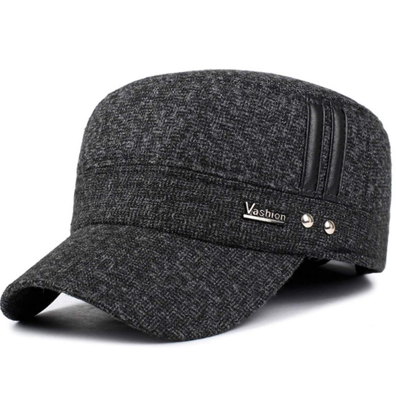 Winter Men Caps Hat with Earflaps Keep Warm Flat Roof Baseball Caps Men Thicken Hat