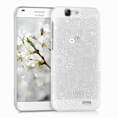 moda firmata 2528e 2d587 kwmobile Cover per Huawei Ascend G7 - Custodia trasparente per cellulare -  Back cover cristallo in plastica rigida Design etnico bianco trasparente