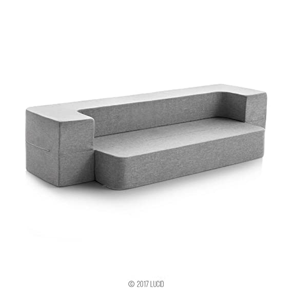 LUCID 8 Inch Convertible Foam Sofa and Foldable Play Mat-Durable Fashion Cover, Twin, Grey