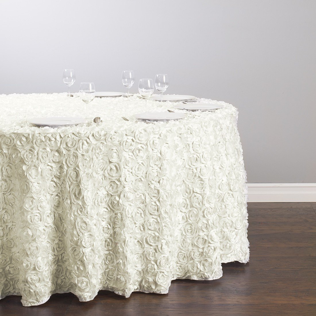 Amazon.com: LinenTablecloth Rosette Satin Round Tablecloth, 130 Inch,  Ivory: Home U0026 Kitchen