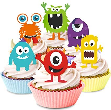 Kreatwow Monster Cupcake Toppers Little Monster Cupcake Picks Cake Decorations For Birthday Party Baby Shower Supplies 24 Pack