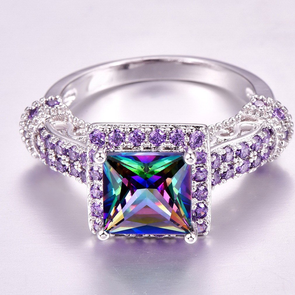 YAZILIND Platinum Plated Square Colorful Cubic Zirconia Simple Style Rhinestone Wedding Eternity Love Jewelry Ring for Women Girls