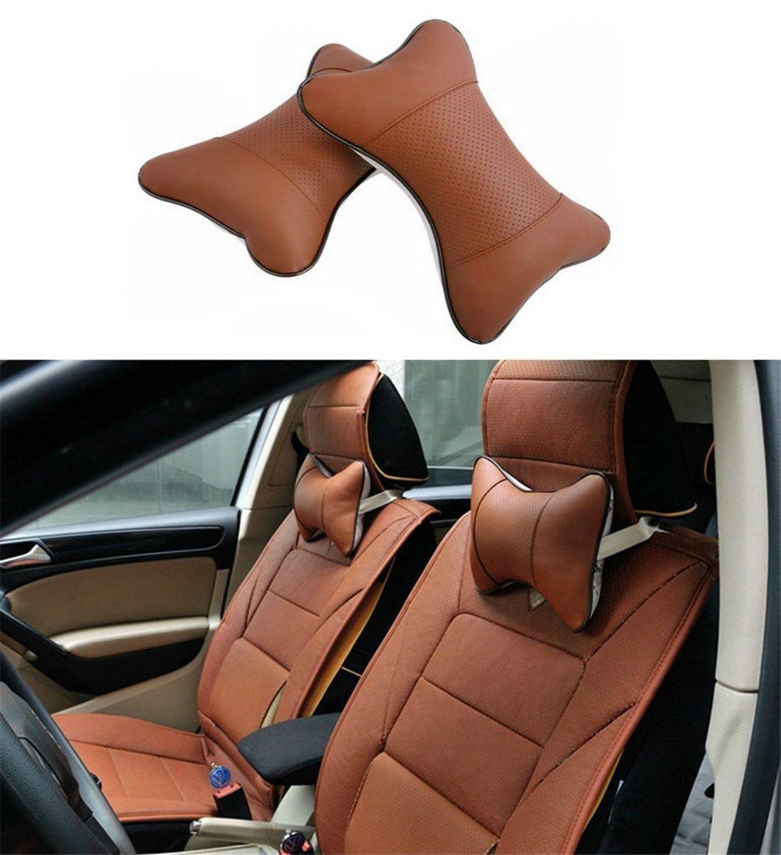 SunnyKun 2pcs Universal Leather Car Headrest Pillow Pad Car Seat Pillow Breathable Car Auto Head Neck Rest Cushion (Black)