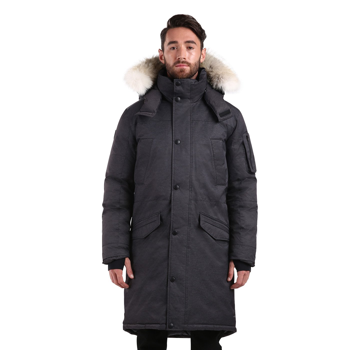 Triple F.A.T. Goose SAGA Collection | Eberly II Mens Hooded Goose Down Jacket Parka with Real Coyote Fur (2XL, Charcoal)