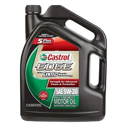 Amazon.com: Castrol 03566 EDGE 5W-20 SPT Synthetic Motor Oil - 5.1 Quart Jug, (Pack of 3): Automotive