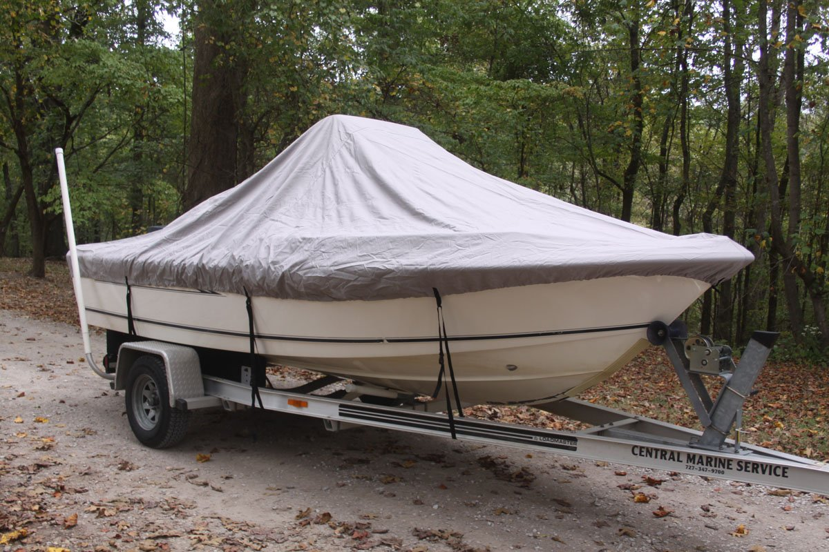 VORTEX HEAVY DUTY GREY / GRAY CENTER CONSOLE BOAT COVER FOR 16'7'' - 17'6'' BOAT (FAST SHIPPING - 1 TO 4 BUSINESS DAY DELIVERY)
