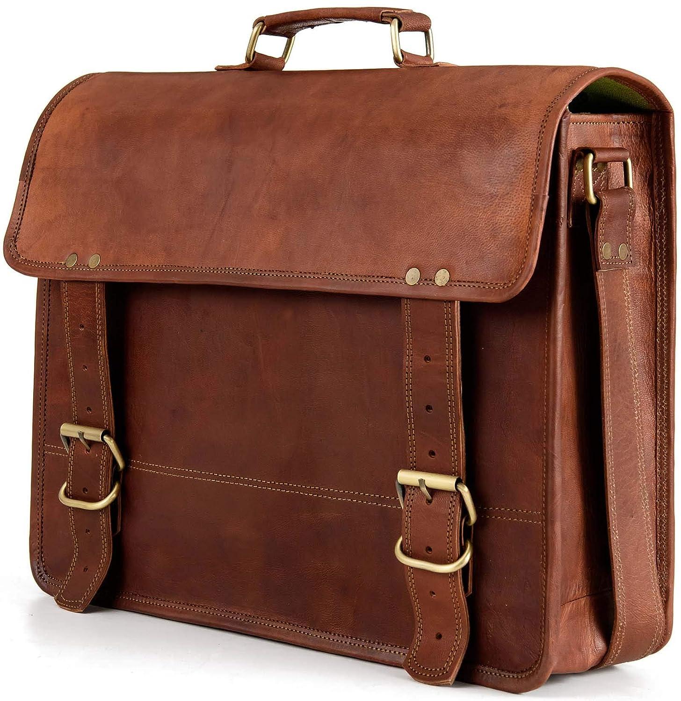 Berliner Bags York Schultertasche Umhängetasche Messenger Laptoptasche 15 Ledertasche Vintage Collegetasche Uni Braun L