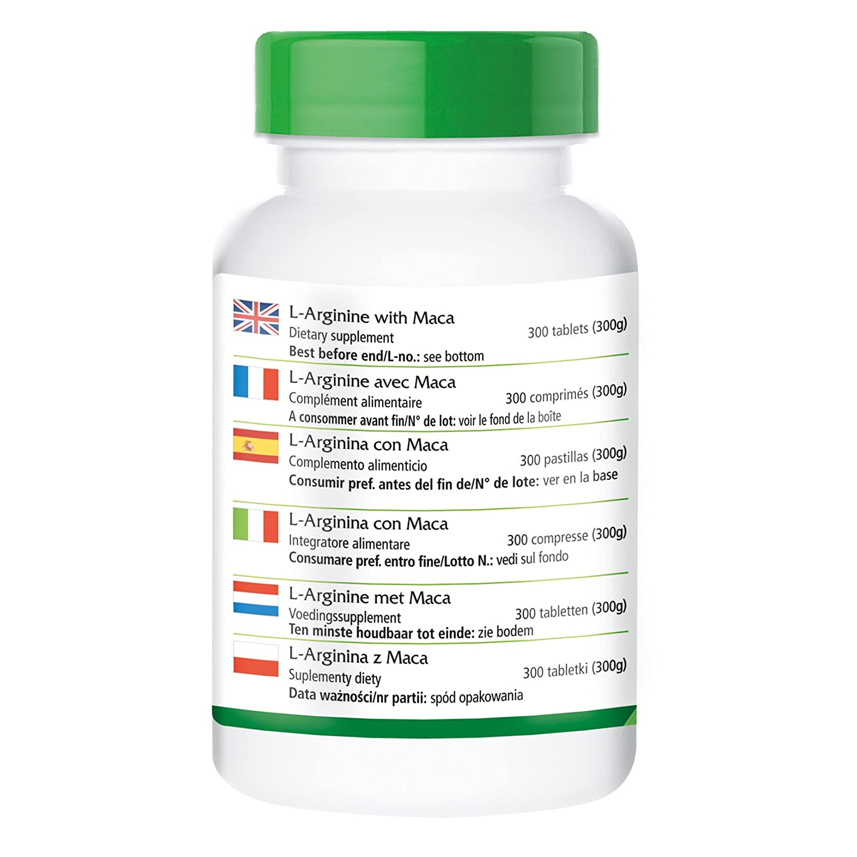 L-arginina con Maca - durante 2 meses - ALTA DOSIS - 300 comprimidos - con beta-glucano, OPC y zinc: Amazon.es: Salud y cuidado personal