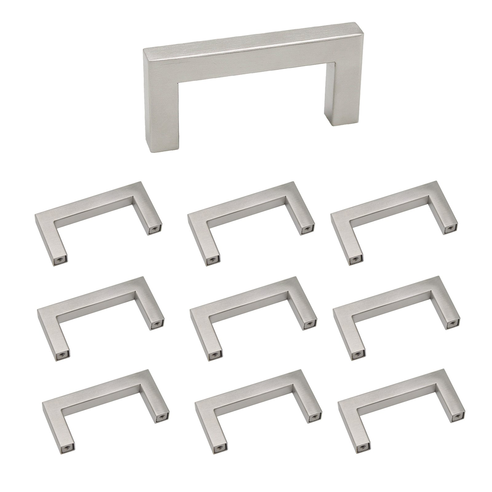 Probrico Brushed Stainless Steel Square Furniture Hardware 2-1/2 Hole Centers Cabinet Dresser Handles, 10 Pack