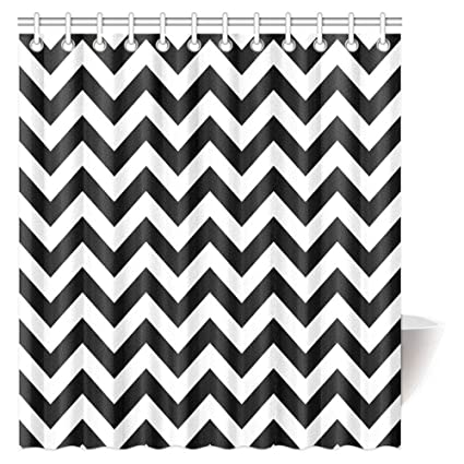Chevron Shower Curtain Set Zig Zag Pattern And Black White Classical Antique Artwork Bath