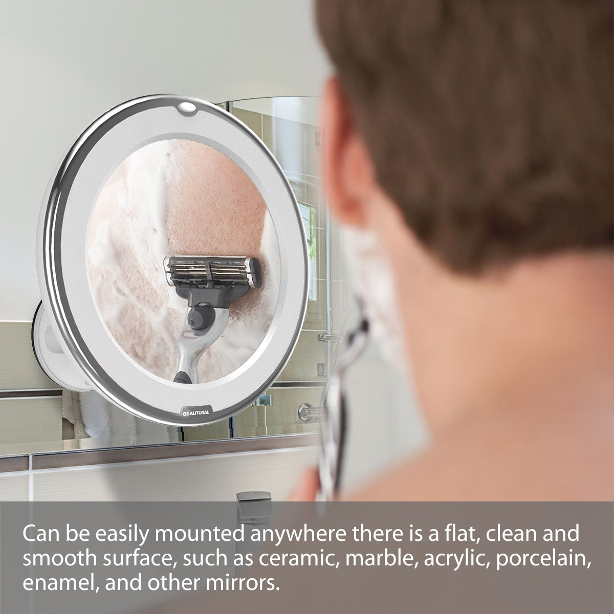 Beautural 10X Magnifying Lighted Vanity Makeup Mirror with Natural White LED, 360 Degree Swivel Rotation and Locking Suction by Beautural (Image #6)