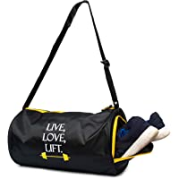 Sunvibe Gym Bag Sports Duffle with Shoe Compartment (Black)