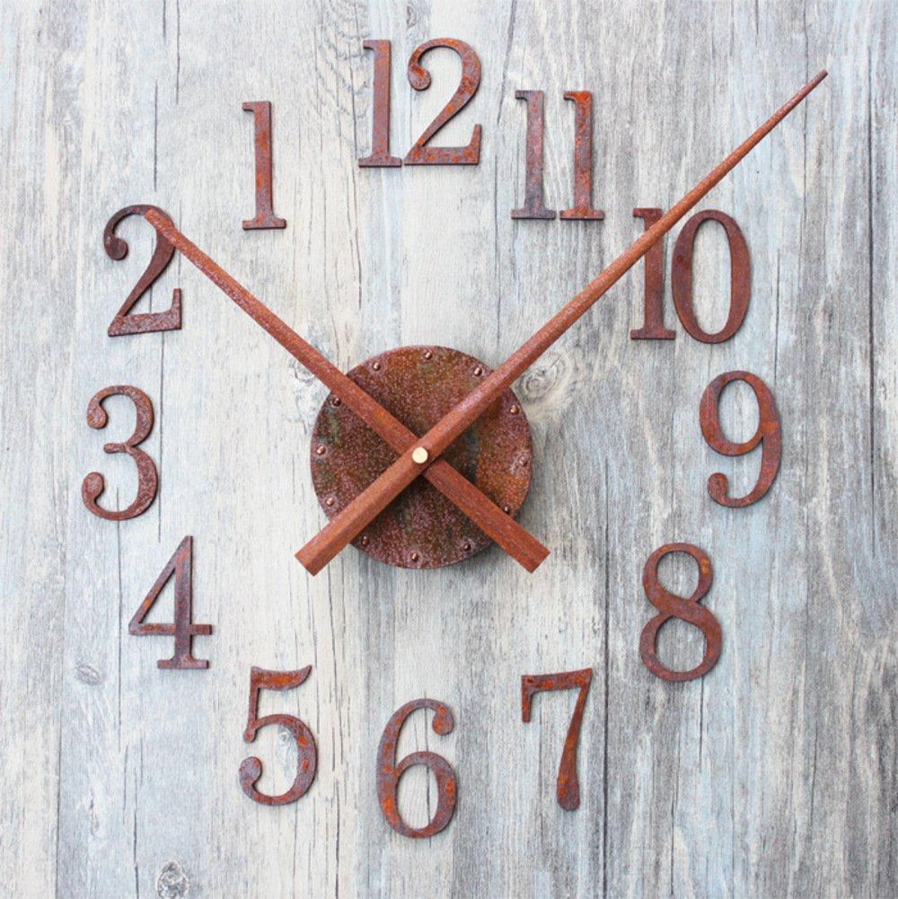 Metallo orologi Faccia la vecchia struttura della ruggine Diy puntatore creativo inversione Orologio della decorazione di personalità GHYQ STORE