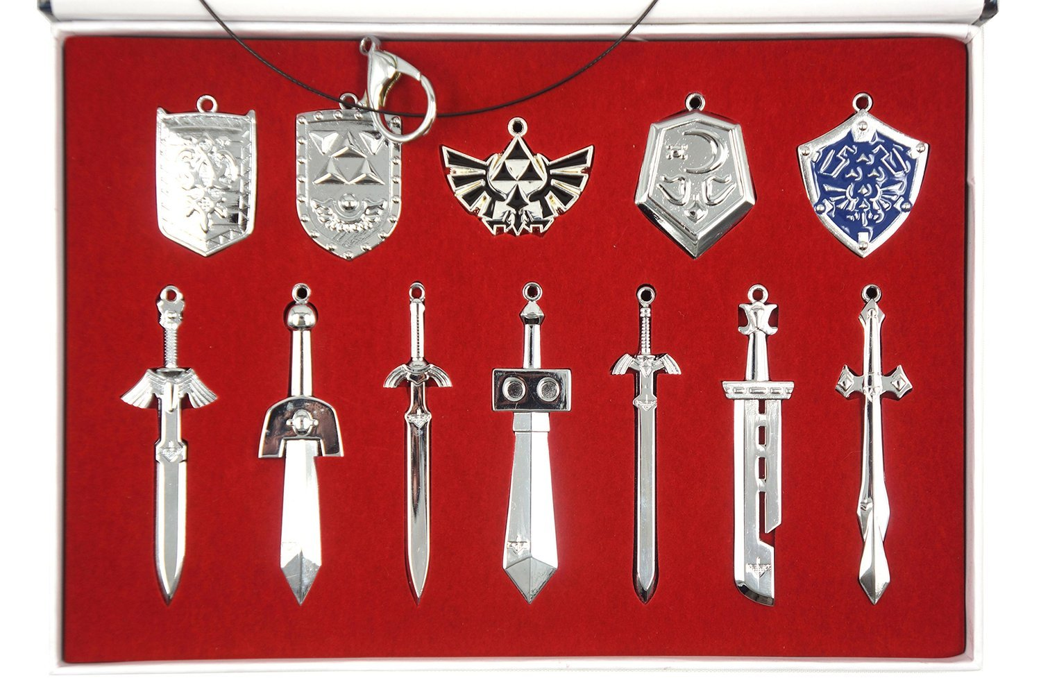 Zelda Triforce Shield & Sword Keychain Necklace Collection Box 2014 Set of 12