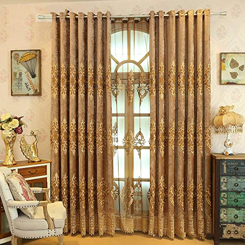 pureaqu Room Darkening Draperies Window Treatment Curtain Panels Metal Grommets/Rings Embroidered Chenille Blackout Curtain Drape
