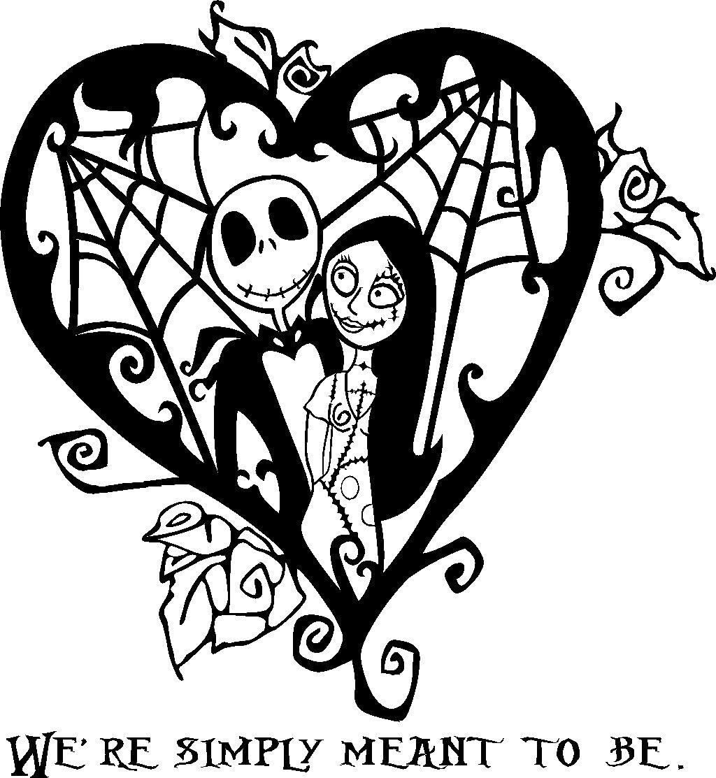 Jack And Sally Simply Meant To Be Vinyl Box Frame Decal