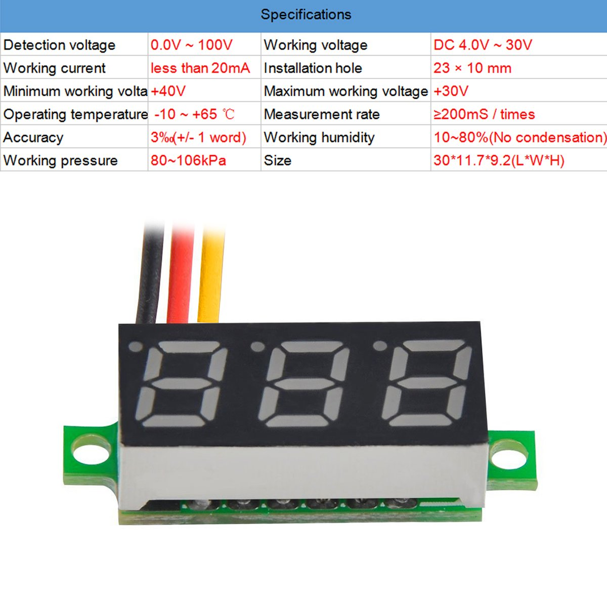 MakerFocus 5pcs Mini Digital Voltmeter DC 0.28 Inch Three-Line DC 0-100V Mini Digital Voltmeter Gauge Tester LED Display Reverse Polarity Protection and Accurate Pressure Measurement 5 Colours by MakerFocus (Image #3)