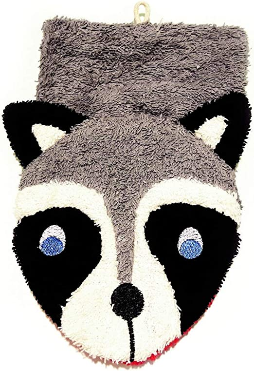 Fürnis - Manopla de baño (algodón ecológico), diseño de mapache ...