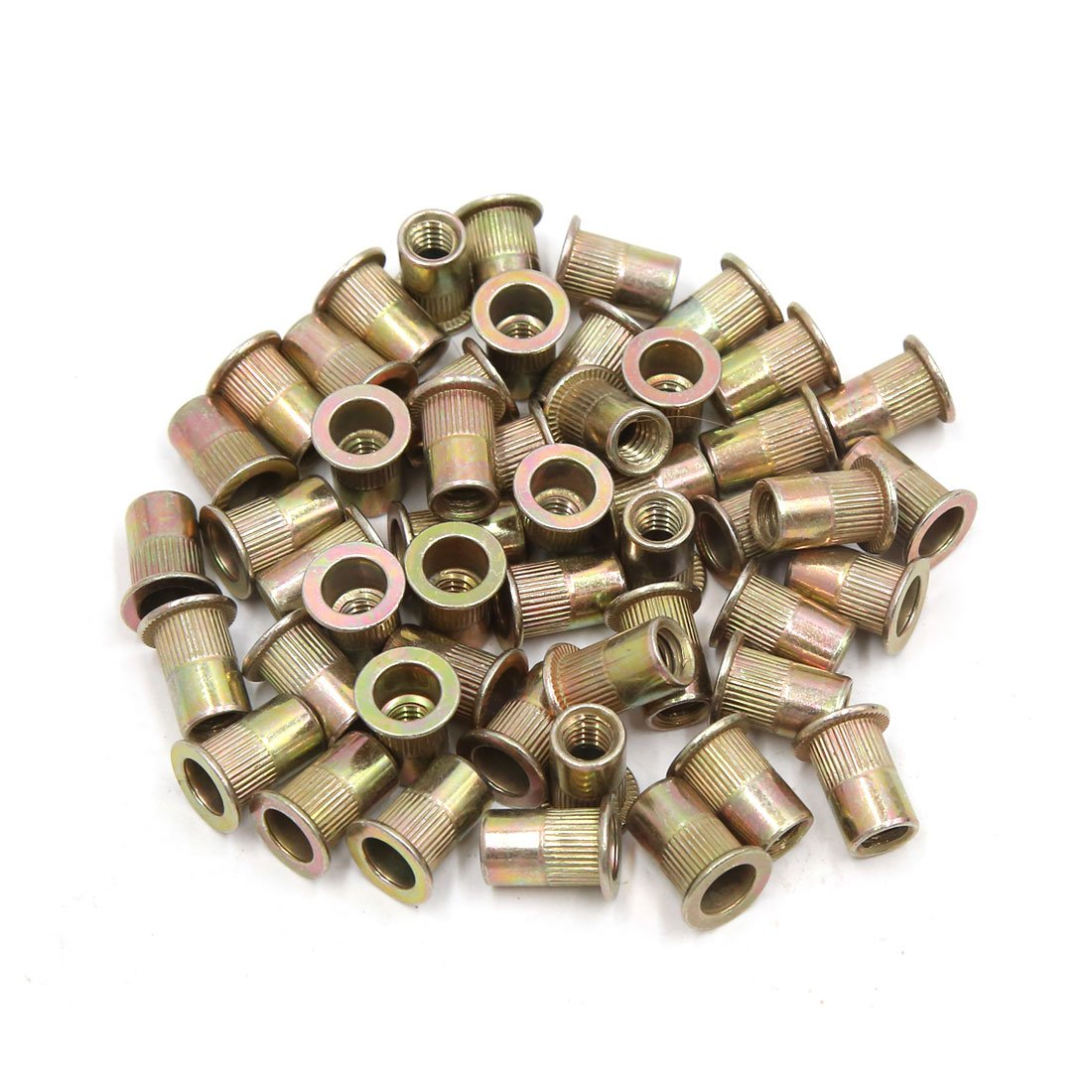 uxcell a17052300ux0571 50Pcs Copper Tone Metal 1/4-20 UNC Rivet Nut Flat Head Insert Nutsert for Car, 50 Pack Unknown