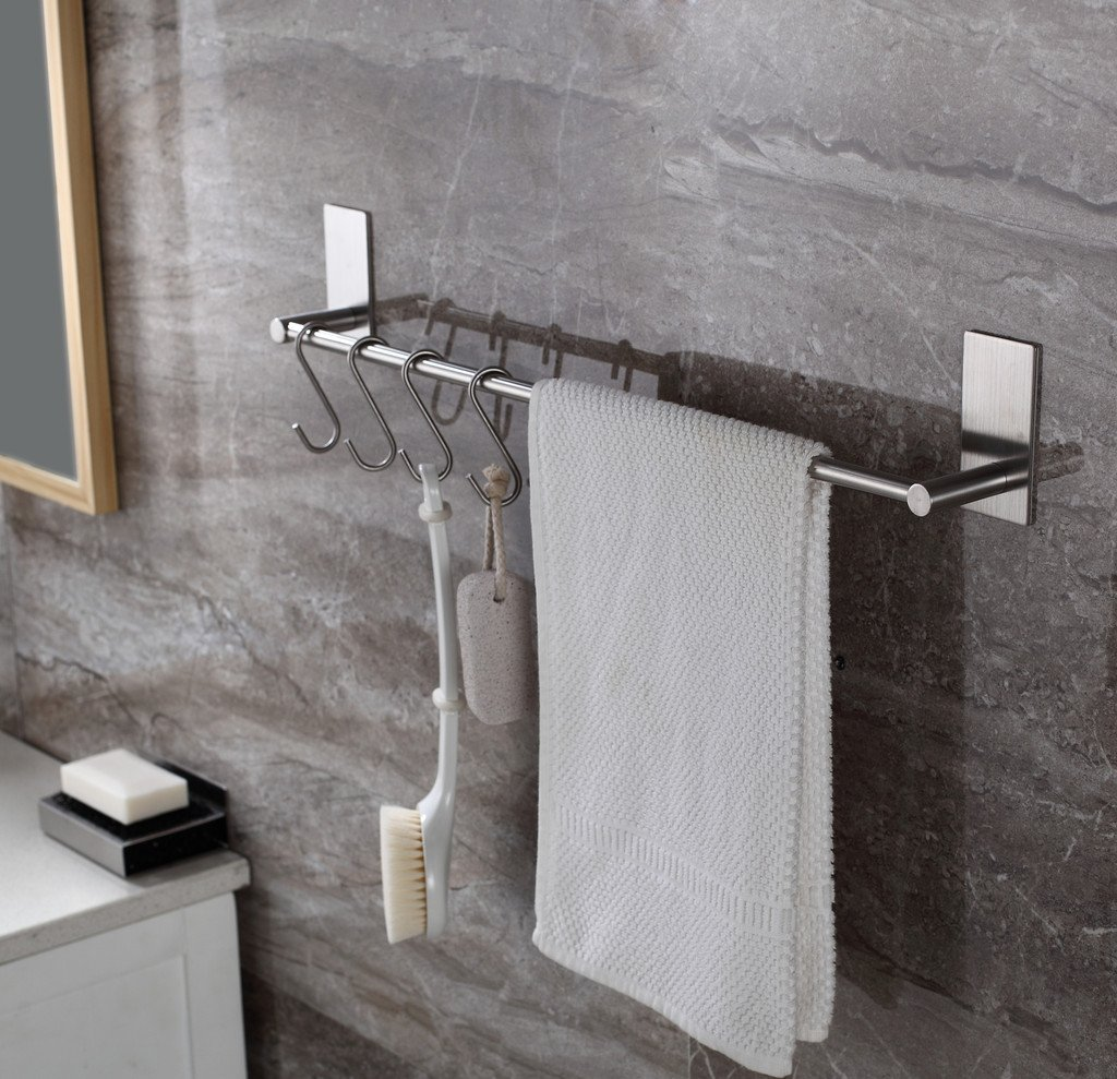 Togu 15.7 inch Self Adhesive Single Towel Bar with 10 S Hooks, Heavy Duty SUS 304 Stainless Steel, Stick on Bathroom Lavatory with Square Base Hanging Towel, Brushed Stainless Steel Finish