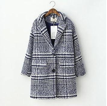 ZZHH Trench Coat Moda femenina de cuadros de la sección larga Abrigos Coat lana Single-breasted c m: Amazon.es: Deportes y aire libre