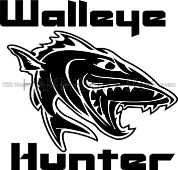Cool walleye hunter fish die cut vinyl car decal window sticker
