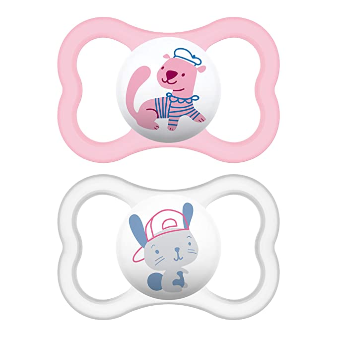 MAM Air Silicone Pacifier, Pink, 2-Count by MAM: Amazon.es: Bebé